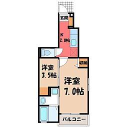 栃木県宇都宮市清原台6丁目の賃貸アパートの間取り