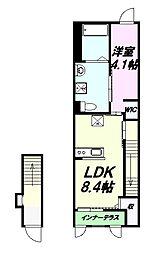 JR中央線 八王子駅 バス13分 馬場谷戸下車 徒歩3分の賃貸アパート 2階1LDKの間取り
