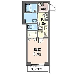 仮)木更津駅前マンション 1階1Kの間取り