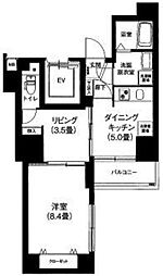 アイルプレミアム文京六義園 8階2DKの間取り