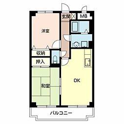 南海高野線 初芝駅 徒歩10分の賃貸マンション 3階2DKの間取り