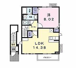 東京都三鷹市中原2丁目の賃貸アパートの間取り