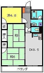 神奈川県横浜市保土ケ谷区岩間町1丁目の賃貸マンションの間取り
