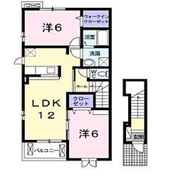岡山県倉敷市東塚5丁目の賃貸アパートの間取り