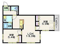 JR中央線 三鷹駅 徒歩17分の賃貸マンション 2階2LDKの間取り