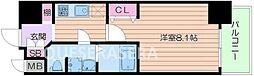 Osaka Metro谷町線 天満橋駅 徒歩7分の賃貸マンション 11階1Kの間取り