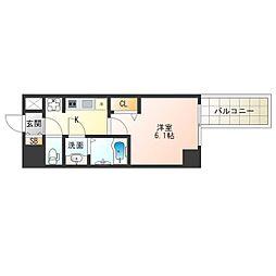 阪神なんば線 九条駅 徒歩2分の賃貸マンション 10階1Kの間取り