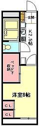 JR高崎線 北本駅 徒歩33分の賃貸アパート 2階1Kの間取り
