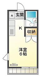 愛知県豊橋市花中町の賃貸アパートの間取り