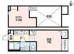新京成電鉄 上本郷駅 徒歩6分の賃貸アパート 2階1Kの間取り