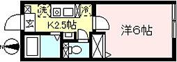 メルベーユ代田 2階1Kの間取り
