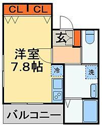 JR外房線 本千葉駅 徒歩8分の賃貸アパート 3階ワンルームの間取り