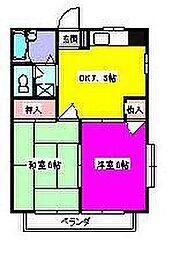 埼玉県川越市川鶴3丁目の賃貸アパートの間取り