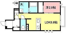 メリーエスポワール 1階1LDKの間取り