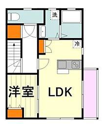 メープルツリーハウス 2階1LDKの間取り