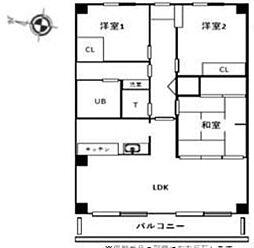 東武野田線 七里駅 徒歩7分の賃貸マンション 3階3LDKの間取り