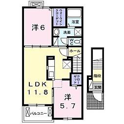 カーサ・ミニョン[2階]の間取り