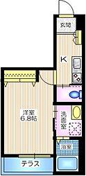 横浜市営地下鉄ブルーライン 三ツ沢下町駅 徒歩3分の賃貸マンション 1階1Kの間取り