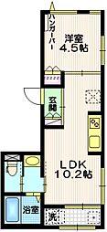 JR山手線 恵比寿駅 徒歩9分の賃貸マンション 2階1LDKの間取り