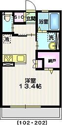 横浜市営地下鉄ブルーライン 上永谷駅 徒歩10分の賃貸アパート 2階ワンルームの間取り