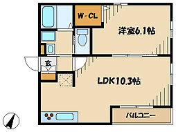 メゾンS&K 2階1LDKの間取り