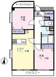 スカイガーデン元石川[305号室]の間取り