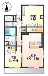 東京都武蔵村山市榎2丁目の賃貸マンションの間取り