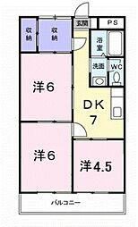 愛知県豊橋市東小鷹野4丁目の賃貸アパートの間取り