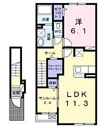 西武新宿線 入曽駅 徒歩9分の賃貸アパート 2階1LDKの間取り