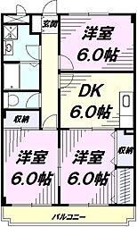 JR青梅線 福生駅 徒歩8分の賃貸マンション 3階3DKの間取り