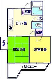 東京都板橋区赤塚3丁目の賃貸マンションの間取り
