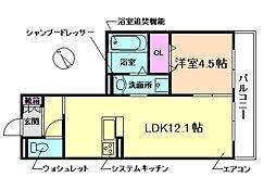 (仮称)D-room上野坂1丁目 2階1LDKの間取り