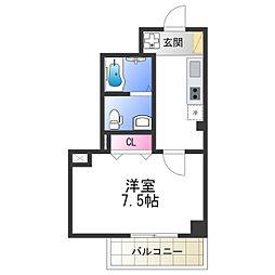 Osaka Metro谷町線 阿倍野駅 徒歩2分の賃貸マンション 3階1Kの間取り
