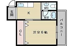 東峰レジデンス 4階1Kの間取り