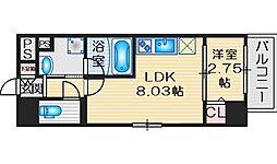 ディームス江坂駅前II 5階1LDKの間取り