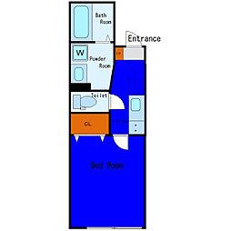 京急空港線 穴守稲荷駅 徒歩9分の賃貸アパート 3階1Kの間取り