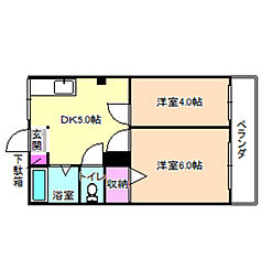 マンション香楽[2階]の間取り