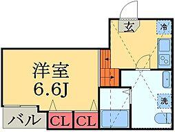 千葉県千葉市中央区今井1丁目の賃貸アパートの間取り