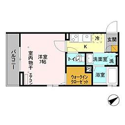 仮)D-room新井 3階1Kの間取り