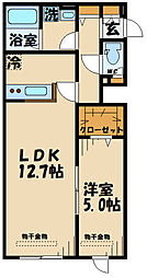 (仮称)府中市若松町1丁目計画アリエス 2階1LDKの間取り