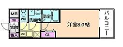 レジデンス大阪福島フォルテ 8階1Kの間取り