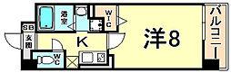 阪神本線 尼崎駅 徒歩5分の賃貸マンション 5階1Kの間取り
