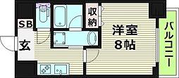 レジュールアッシュ大阪城EAST 5階1Kの間取り