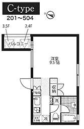 JR東海道本線 平塚駅 徒歩4分の賃貸マンション 1階ワンルームの間取り