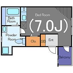 Maison Ciel品川大崎 2階ワンルームの間取り
