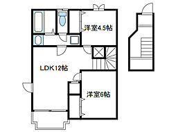神奈川県綾瀬市早川の賃貸アパートの間取り