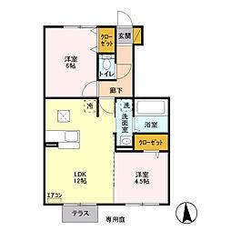 埼玉県八潮市緑町1丁目の賃貸アパートの間取り