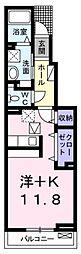JR高崎線 宮原駅 徒歩12分の賃貸アパート 1階ワンルームの間取り