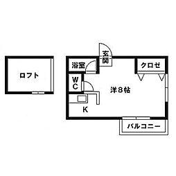 ファミール笹原[202号室]の間取り