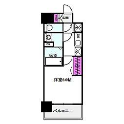 アドバンス大阪バレンシア 10階1Kの間取り